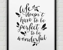 printable inspirational poster // instant download 'life is wonderful' print // black white home decor // printable wall art