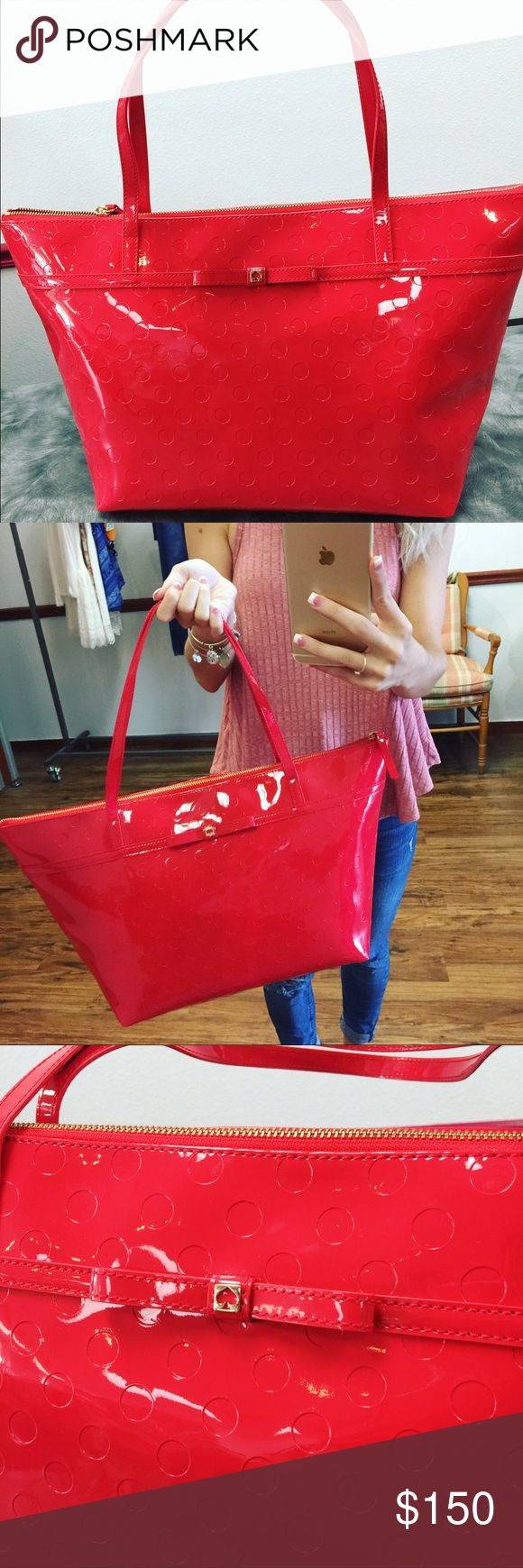 Kate Spade Red Polka Dot Tote Bag With Bow - NWT This Tote is GORGEOUS!! No trades. No flaw. This bag will not disappoint. kate spade Bags Totes