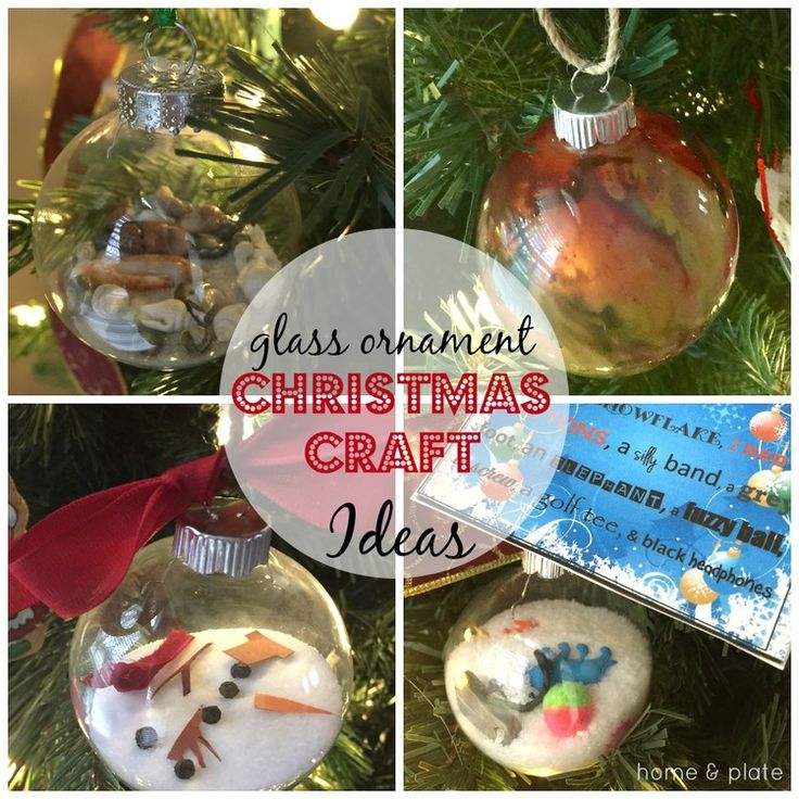 Glass Ornament Christmas Craft Ideas. I spy, beach, melted crayon and melted snowman.