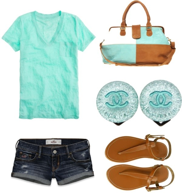 #Repin By:Pinterest++ for iPad#Fashion, Casual Summer, Outfit Ideas, Summer Outfit, Blue, Colors, Coastal Style, Shorts, T Shirts