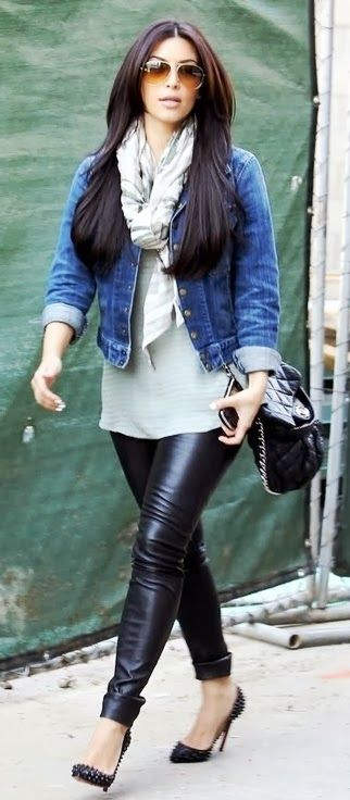 Fabulous jacket, scarf and leggings for fall. She's not plus size but its an easy outfit to put together.