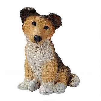 Brown Collie Puppy Dog Statue