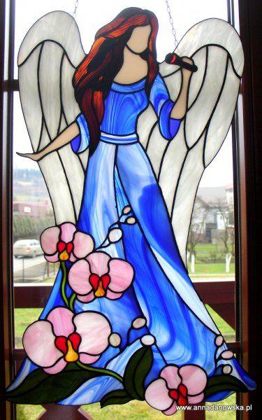 Witraże Tiffany Galeria Anna Danowska  Anioł Piosenki 36 x 57 cm