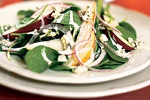 Tossed with a creamy maple dressing, this spinach salad is both savoury and sweet.  The addition of pears, apples, onions and blue cheese ensure this spinach salad is anything but ordinary.