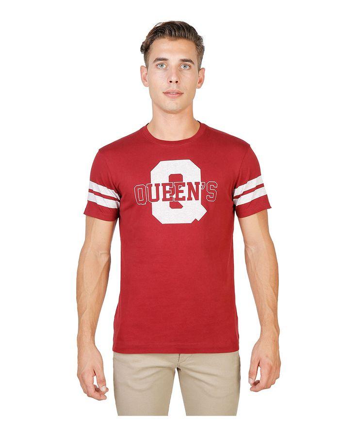T-shirt girocollo a maniche corte con striscia di colore a contrasto - 100% cotone - tessuto tinto pezza a 60° c con col - T-shirt uomo  Rosso