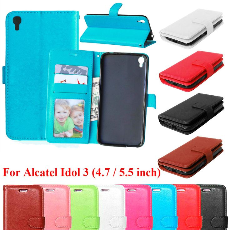 >> Click to Buy << Flip Leather Case For Alcatel Idol 3 Cover Case With Card Holder Phone Bags Fundas Coque Stand For Alcatel Idol 3 5.5 & 4.7 inch #Affiliate