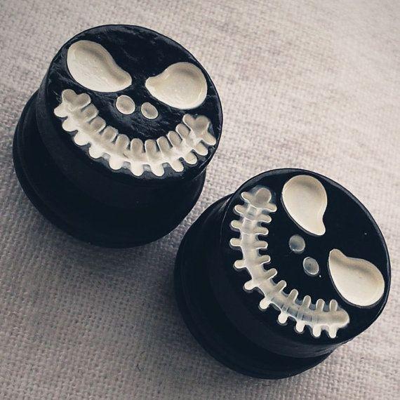 5/8 inch 16mm  Spooky Skull Face Steel Tunnels Goth Gothic Movies Tim Burton