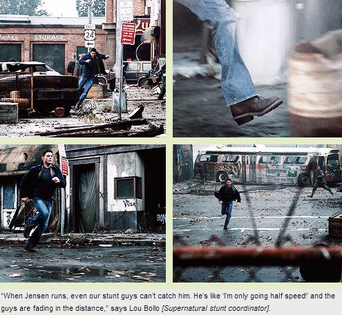 """[GIFSET] 5x04 The End - Jensen running faster than the stuntmen. I'd like to a see a foot race between him, Moose, and Misha. Jensen would book while Jared would just take long loping strides easily keeping pace. Meanwhile, Misha would just fly to the finish, shouting """"Suck it, assbutts!"""""""