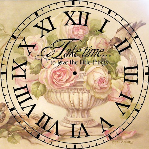 Clock with rose background - take time to like the little things