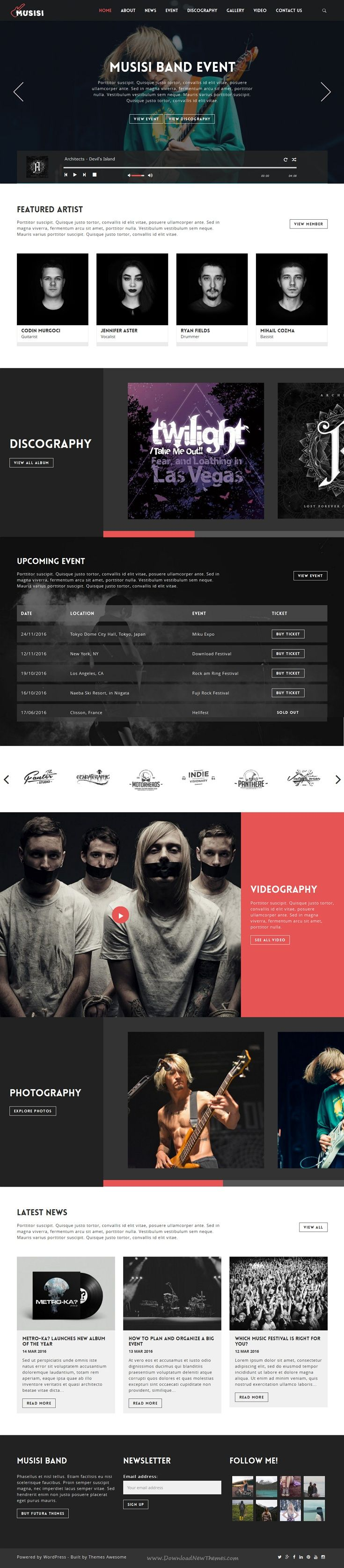 Musisi wonderful responsive WordPress Theme is Suitable for #music bands, dj's, singers, #artists, radio, events and entertainment #websites.