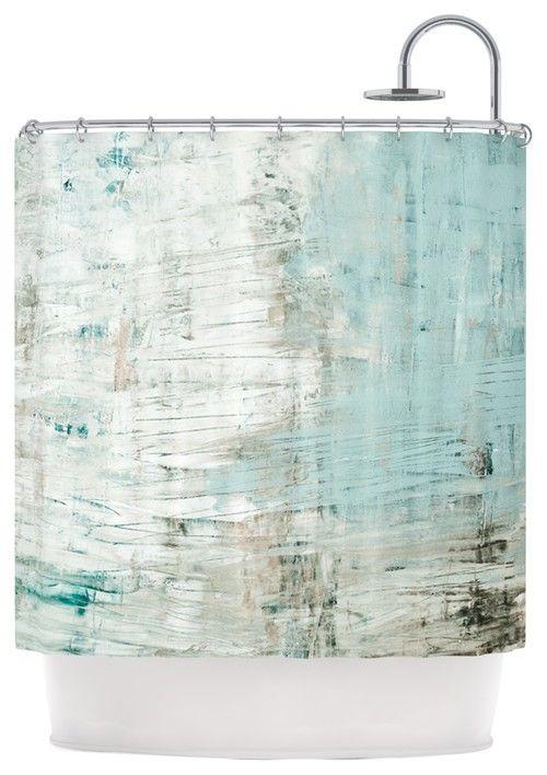 """Iris Lehnhardt """"Bluish Green"""" Neutral Blue Shower Curtain by KESS IN-HOUSE"""