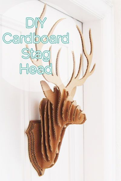 Diy cardboard stag taxidermy with free printable diy for Free cardboard taxidermy templates
