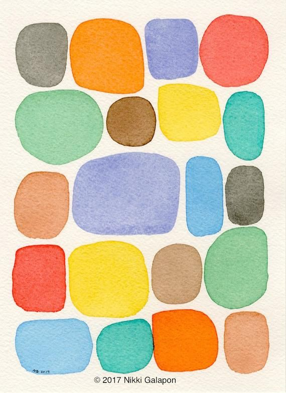 Colorful Abstract Watercolor 4 Minimalist Shapes 5 5 X7 5