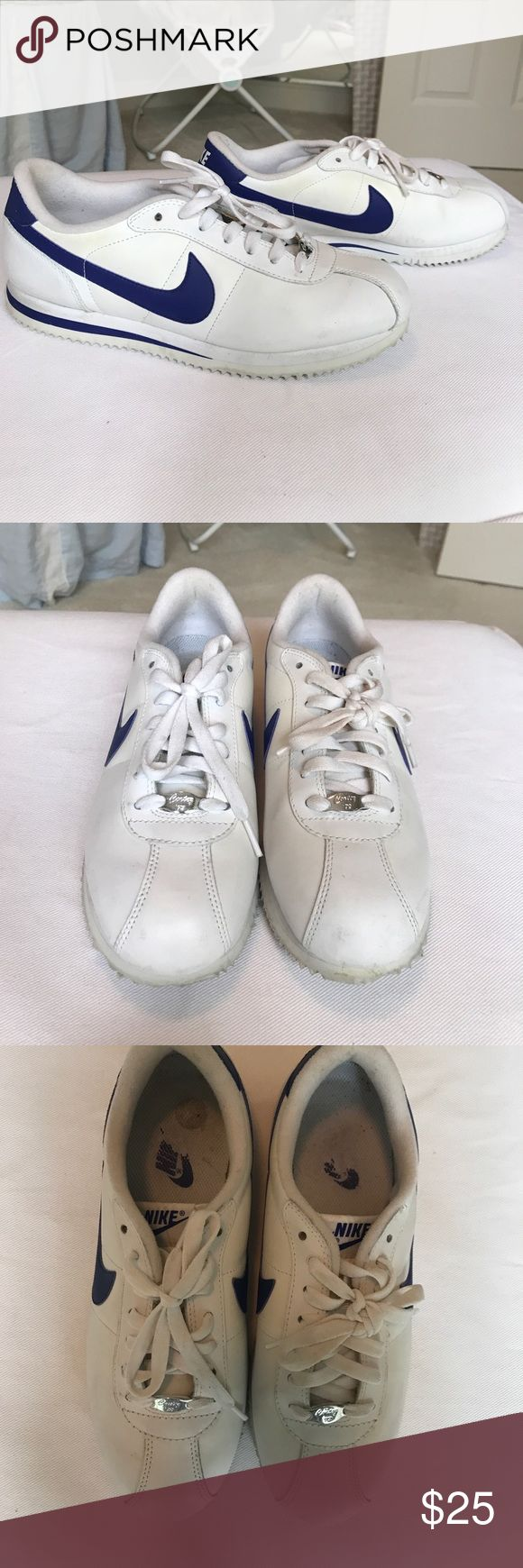 Nike Cortez '72 Nike Cortez '72 white with royal blue detail. Size 9. Worn a couple of times. Slight discoloration from sitting in the closet, could be brand new with some TLC. Does not come with box Nike Shoes Sneakers