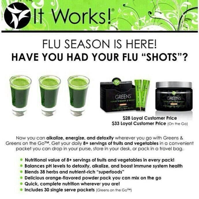 Are you ready for flu season?  Greens are a must have in every house!  They help aid in detoxing... Message me if you have any questions or go online and order http://www.stephanierojas.com