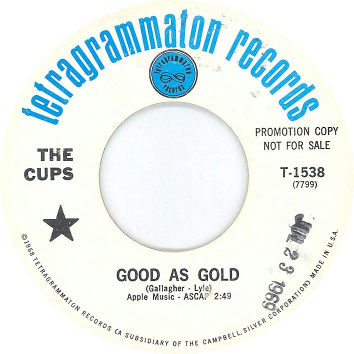 """THE CUPS """"Good As Gold"""" 1969 produced by JOHNS CHILDREN member John Hewlett. Up tempo Bubblegum w/MOD edge by an alter ego for GALLAGHER & LYLE while at APPLE Publishing. They had a few more great Apple demos & hits w/Mary Hopkins. THE JOOK demoed G&L songs too since they shared a manager. The duo joined McGinnis Flint in 1970 & then RONNIE LANE before their own success. John Hewlett worked w/ JOOK, JET SPARKS, MILK 'N' COOKIES + BEARSVILLE! Listen to Cups. https://youtu.be/_ERlLWAwi0c"""