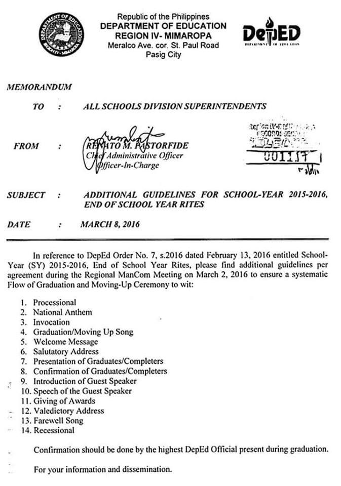 DEPED TAMBAYAN PH Approved Flow of Graduation and Moving-Up - memorandum
