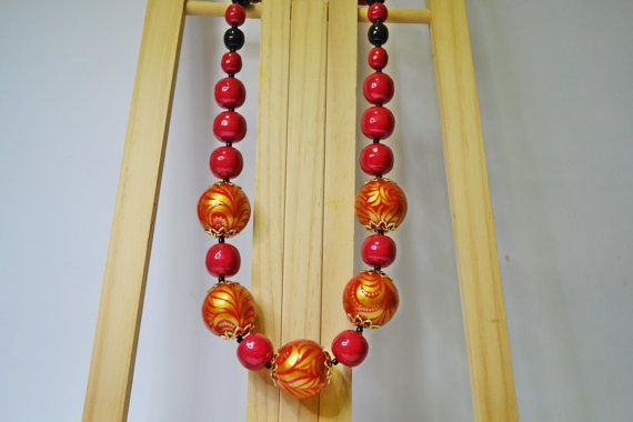 Hand painted Necklace Wooden Beads Russian folk style