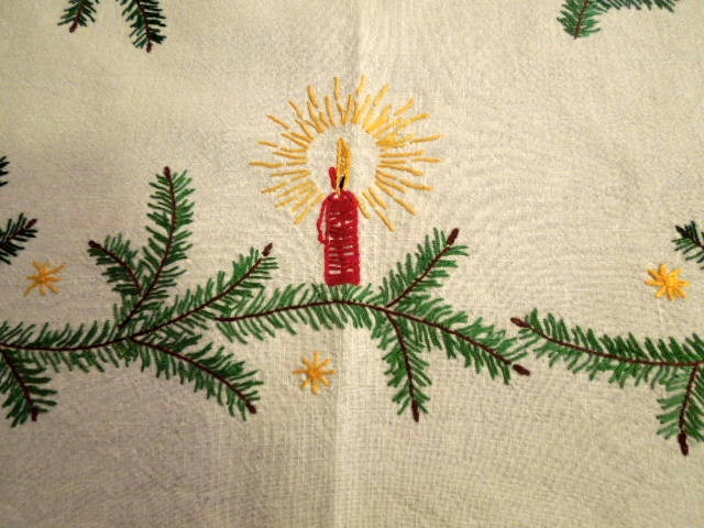 Vintage German Tea Tablecloth Embroidered Greens Candles Pinecones