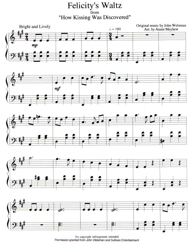 Felicity's Waltz from Road to Avonlea season 2, episode 2--There are four pages to this song and you have to download them separately from the site.