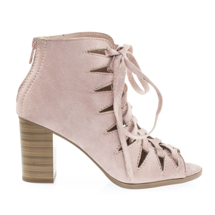 Hewitt2 Dust Mauve F-Suede by Soda Dust Mauve Faux Suede by Soda, Women Peep Toe Caged Corset Lace Up Stacked Block Heels, Gladiator Shoes