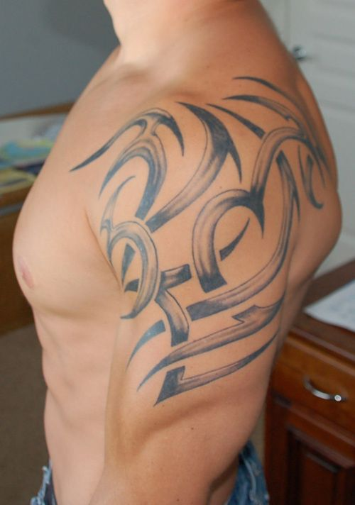 Shoulder Tribal with Integrated Lettering (1 of 2)