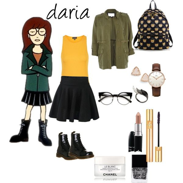 Daria Morgendorffer by hajimo on Polyvore featuring polyvore, fashion, style, Topshop, River Island, Dr. Martens, Moschino, Kendra Scott, Daniel Wellington, AS29, Yves Saint Laurent, MAC Cosmetics, Chanel and Butter London