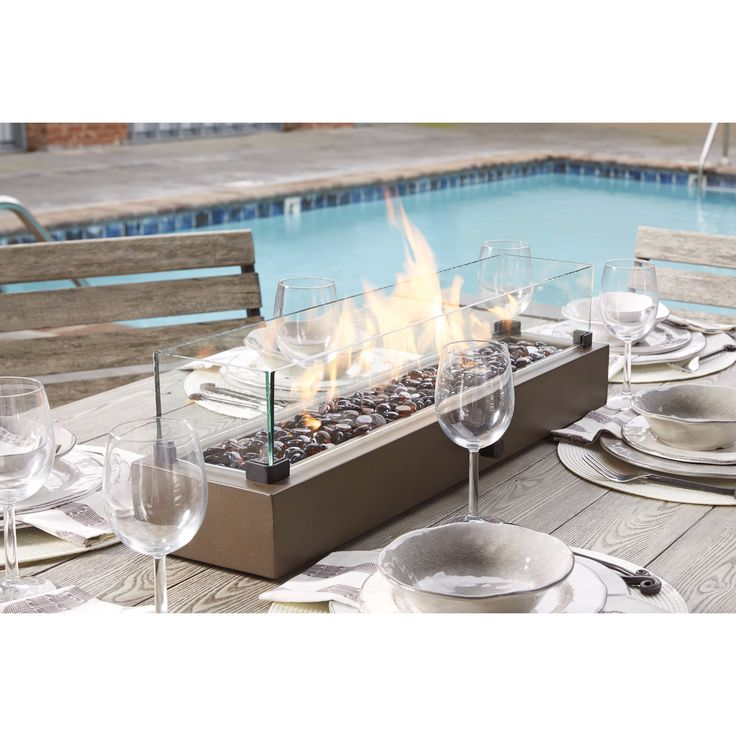 Signature Design by Ashley Hatchlands Brown Table Top Fire Bowl (Table Top Fire Bowl), Outdoor Décor