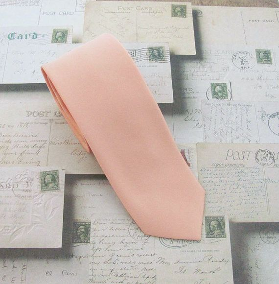 @ Adam's Peach Tie. Mens Tie Light Peach Skinny Tie With by TieObsessed
