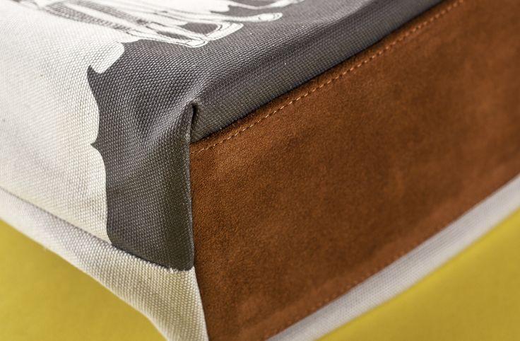 01WARDROBE Autumn/Winter 2013 - Beige Family Tote Bag, Cow Skin Leather Shoulder Straps // %100 Cotton Canvas bag / Printed bag / İllustrated bag / $69