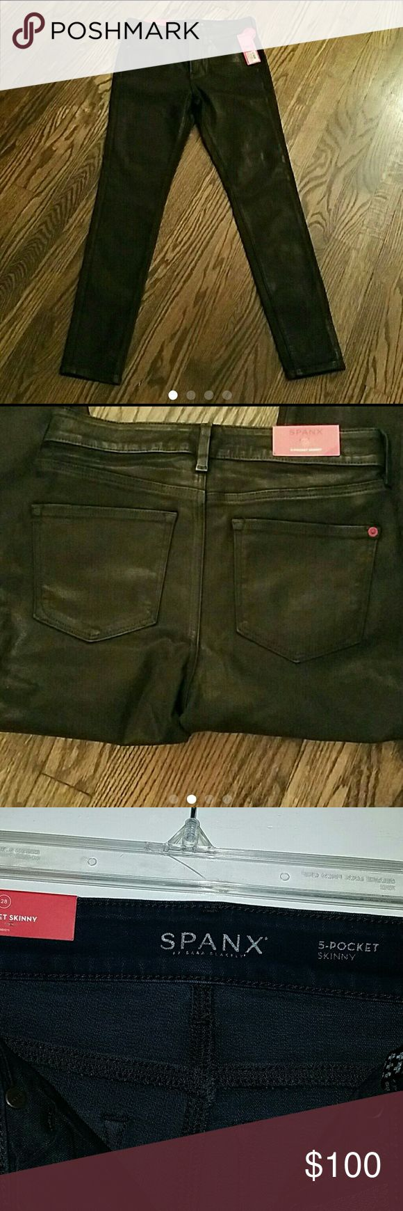 SPANX SIZE 28 BLACK WAXED JEANS/LEATHER LOOK Black, Leather Look Jeans. This is a brand new and original price is $178 but you're getting them for a steal of a deal SPANX Jeans Skinny
