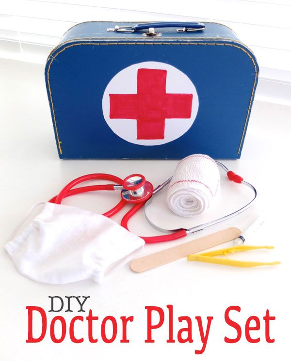 How To: DIY Doctor Play Set ▽▼▽ My Poppet - I had a Fisher Price one as a girl, and it really got a workout. Instead of buying   a whole lot of plastic stuff, I rummaged around in a few drawers and cupboards and put together a fun set that cost me next to nothing.  Apart from gathering supplies, I made a gauze surgical mask. The tutorial is included