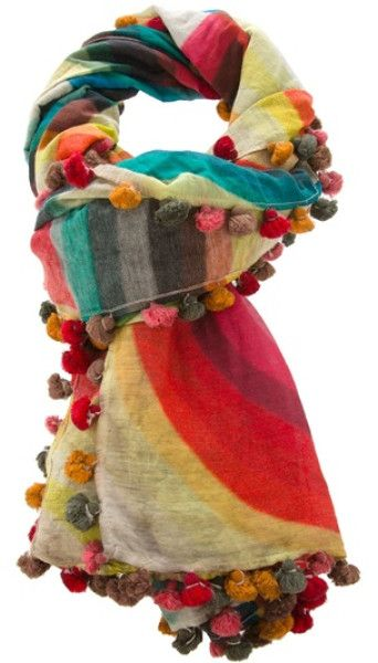 Faliero Sarti Multicolor Scarf.  This is for sale but I could fashion one with pom poms from fabrics I have or upcycled clothes
