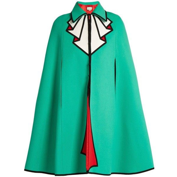 Gucci Trompe l'oeil wool cape (£2,825) ❤ liked on Polyvore featuring outerwear, coats, green, wool capes, gucci, green cape, green cape coat and cape coat