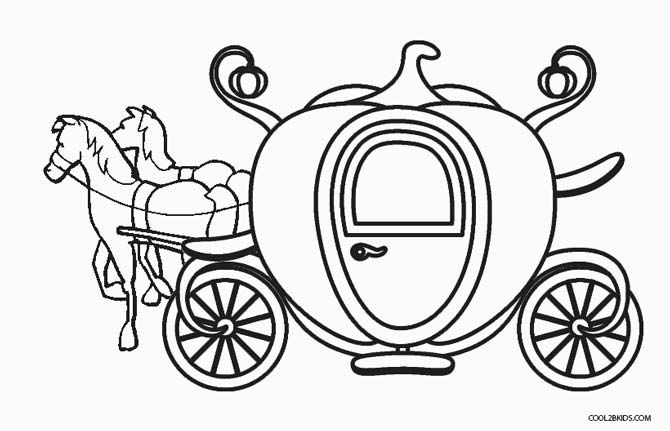 Carriage Cinderella Coloring Pages Pumpkin 2020 Check More At