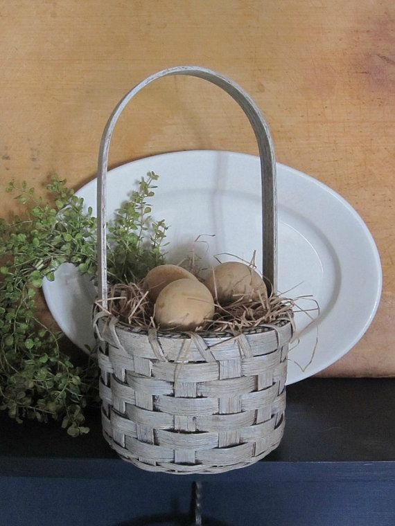 Primitive Painted Handwoven Easter Basket by 1803ohiofarmbaskets