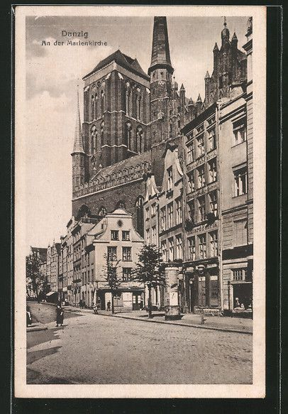 Alte Ansichtskarte: AK Danzig / Gdansk, An der Marienkirche