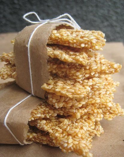home made sesame snaps- made with honey!!