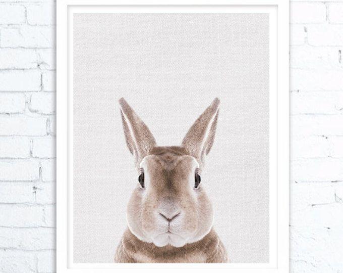 Konijn afdrukken, kinderdagverblijf inrichting, Woodland kwekerij Decor, Bunny Wall Art Print, grote printbare Poster, konijn Wall Art Print, kwekerij wordt afgedrukt