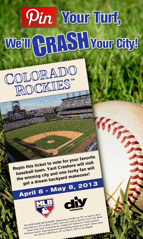 Crash Denver! Repin this #ColoradoRockies ticket. The city with the most repins gets crashed!