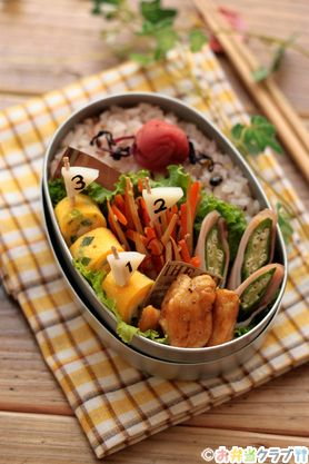 Character lunch | | OCN lunch club recipes lunch of fish paste athletic meet ♪ simple flag