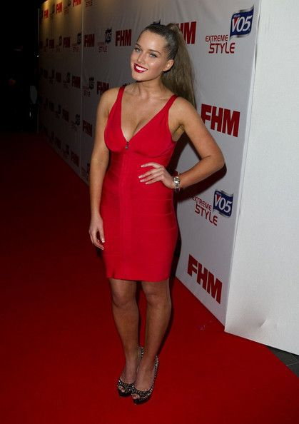 Helen Flanagan Lookbook: Helen Flanagan wearing Cocktail Dress (6 of 9). Helen Flanagan strutted her stuff at the FHM Sexiest Women in the World Awards in a skintight red dress.