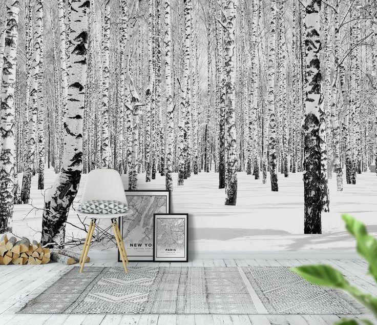 Vinter Björkar svart vit Tapet