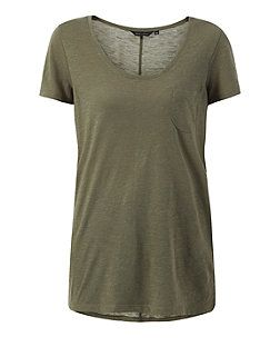 Bottle green (Green) Khaki Seam Back T-Shirt  | 318964336 | New Look