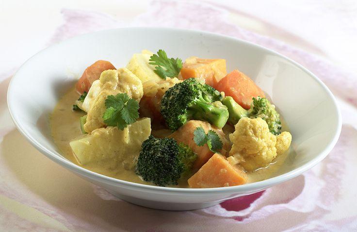 """Indisk gryte fra Grete Roede. """"En fargerik og smaksrik middag proppfull av grønnsaker!"""""""
