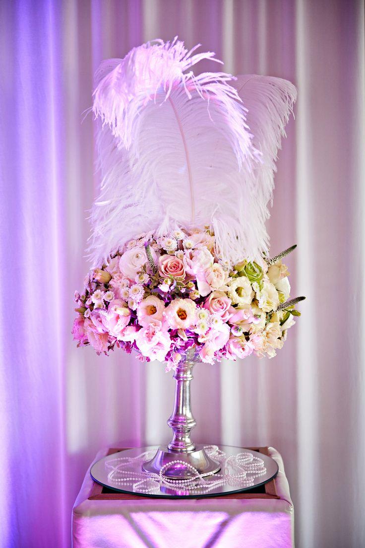 dekoracje strusimi piórami, dekoracje glamour