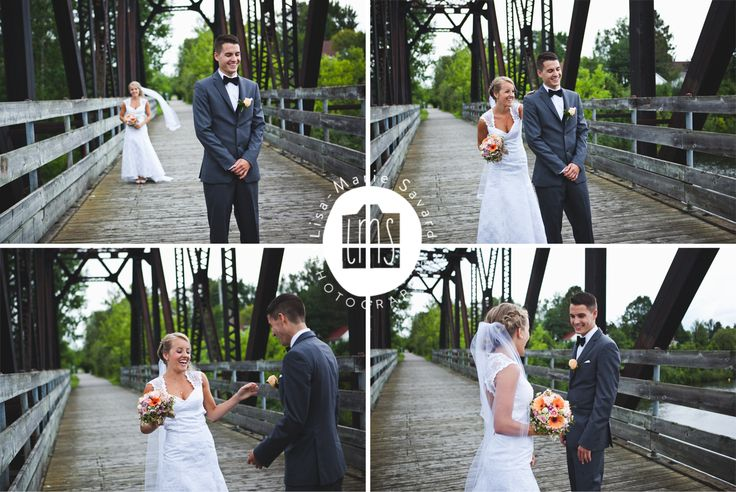 Bride and groom first look on a bridge. Montréal Saguenay Québec. Photo: Lisa-Marie Savard Photographie