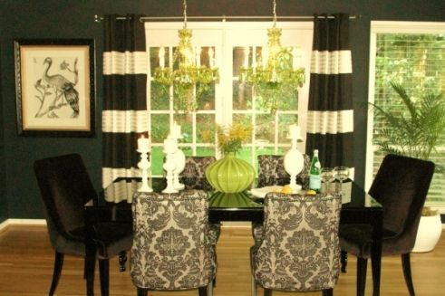 Black white and green dining room home ideas dining for Dining room ideas green
