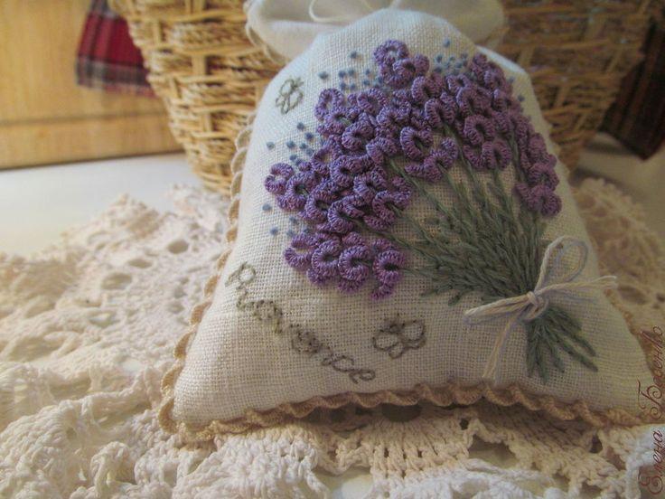 """Купить Мешочек-саше """"Provence"""" - лен, хлопок, вышивка ручная, мешочек для подарка, мешочек с вышивкой"""