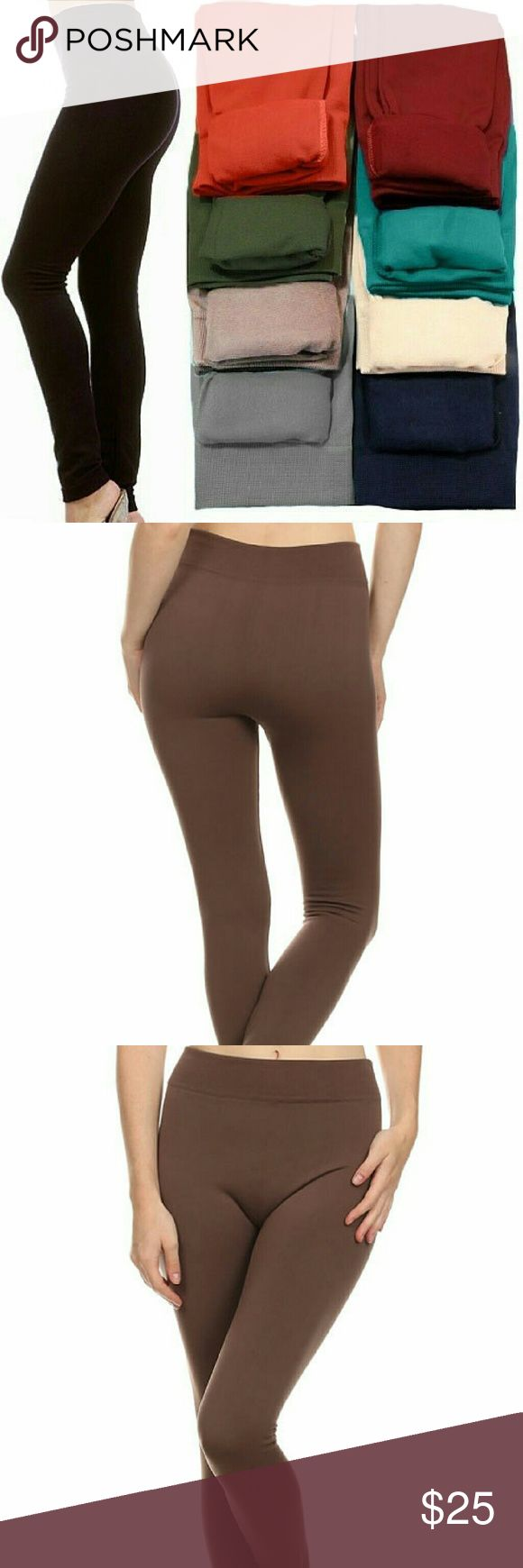 ‼️CLEARANCE‼️BLACK Fleece Lined Leggings 🔘ONE SIZE FITS MOST🔘(best fits S, M, L )  Super soft, very stretchy and stylish fleece leggings \ footless tights. Looks like a regular sleek legging but inside is soft and cozy fleece that is warm & comfy. Warmth and style without bulkiness. 65% Polyester, 20% Cotton, 15% Spandex.  Available in other listings: DK. BROWN CHARCOAL, MIDNIGHT BLUE, WINE & SAND.  🔴Price Firm Unless Bundled 🔴No Trades Boutique Pants Leggings